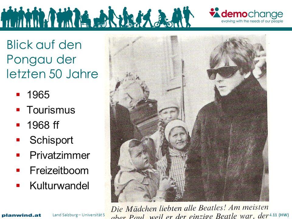 Land Salzburg – Universität Salzburg – planwind.at – rsa-iSPACE – ÖIR-Salzburg – conSalis 08.04.11 (HW) 1965 Tourismus 1968 ff Schisport Privatzimmer Freizeitboom Kulturwandel Blick auf den Pongau der letzten 50 Jahre