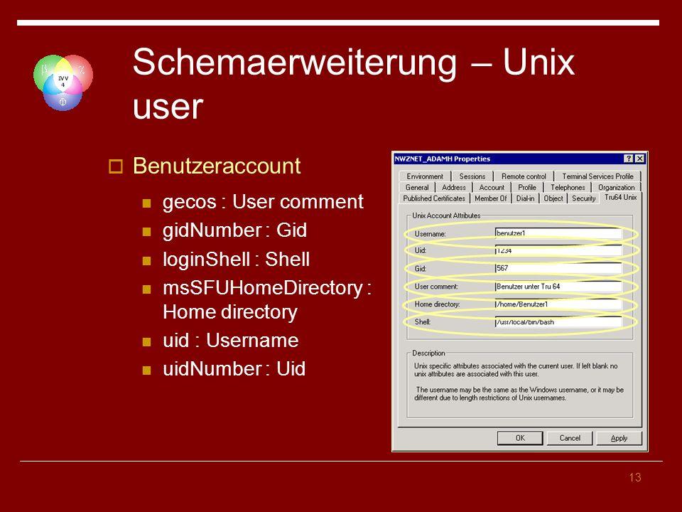 13 Schemaerweiterung – Unix user Benutzeraccount gecos : User comment gidNumber : Gid loginShell : Shell msSFUHomeDirectory : Home directory uid : Username uidNumber : Uid