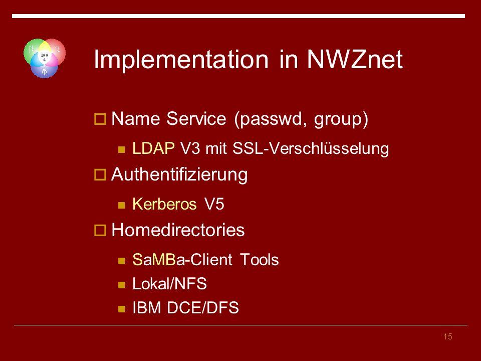 15 Implementation in NWZnet Name Service (passwd, group) LDAP V3 mit SSL-Verschlüsselung Authentifizierung Kerberos V5 Homedirectories SaMBa-Client Tools Lokal/NFS IBM DCE/DFS