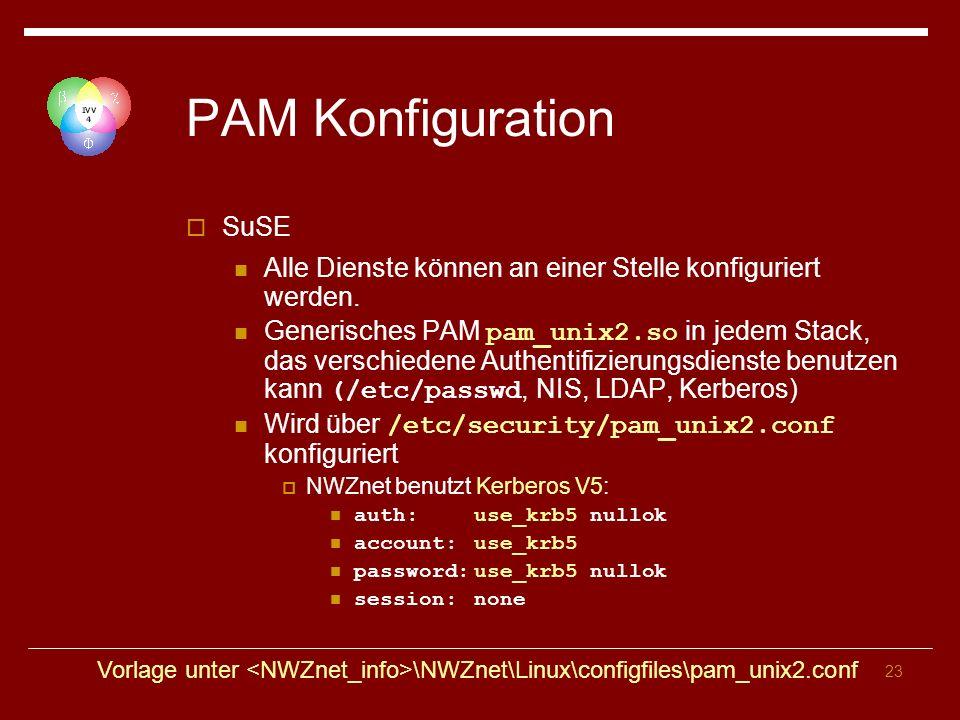 23 PAM Konfiguration SuSE Alle Dienste können an einer Stelle konfiguriert werden.
