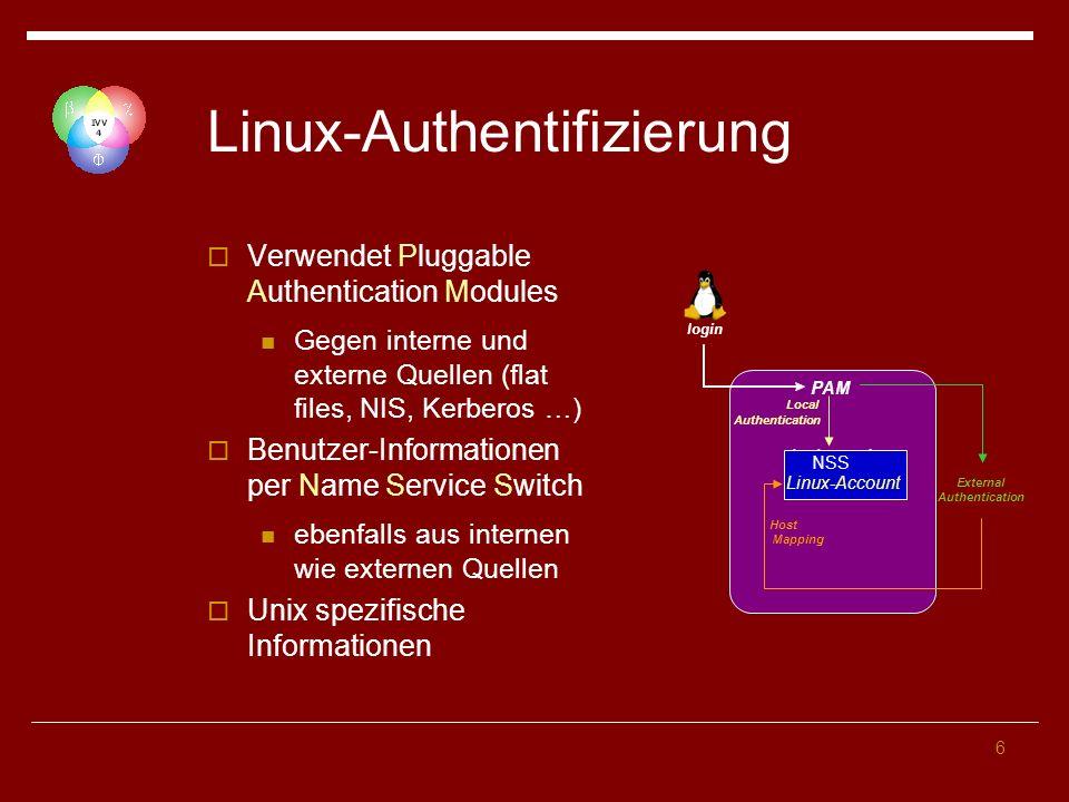 6 Linux-Authentifizierung Verwendet Pluggable Authentication Modules Gegen interne und externe Quellen (flat files, NIS, Kerberos …) Benutzer-Informationen per Name Service Switch ebenfalls aus internen wie externen Quellen Unix spezifische Informationen PAM /etc/passwd External Authentication Host Mapping Local Authentication login NSS Linux-Account