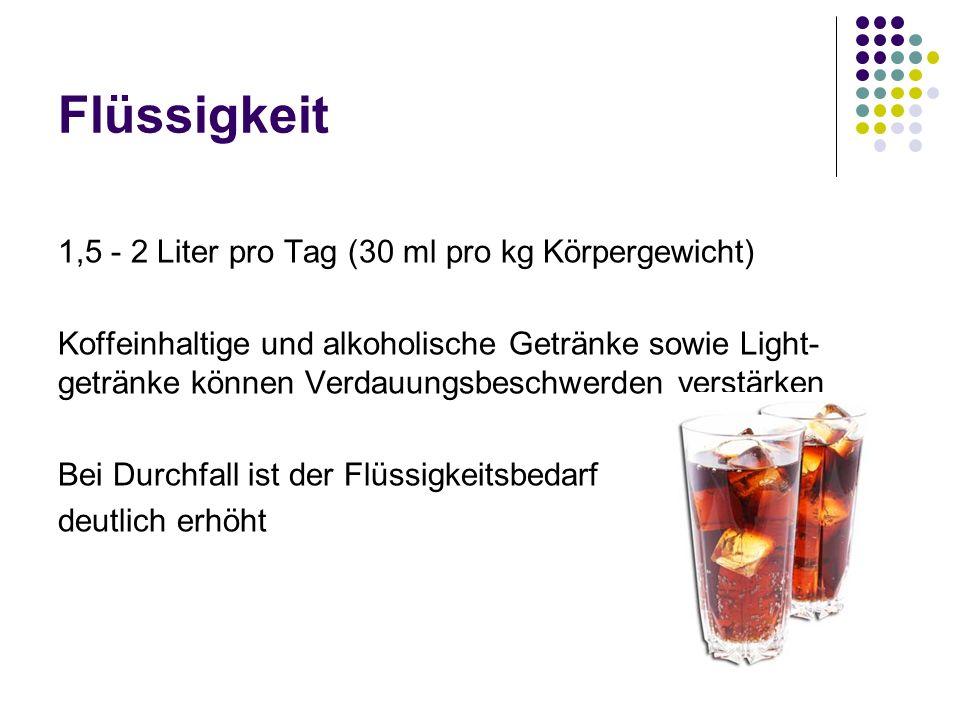 Flüssigkeit 1,5 - 2 Liter pro Tag (30 ml pro kg Körpergewicht) Koffeinhaltige und alkoholische Getränke sowie Light- getränke können Verdauungsbeschwe