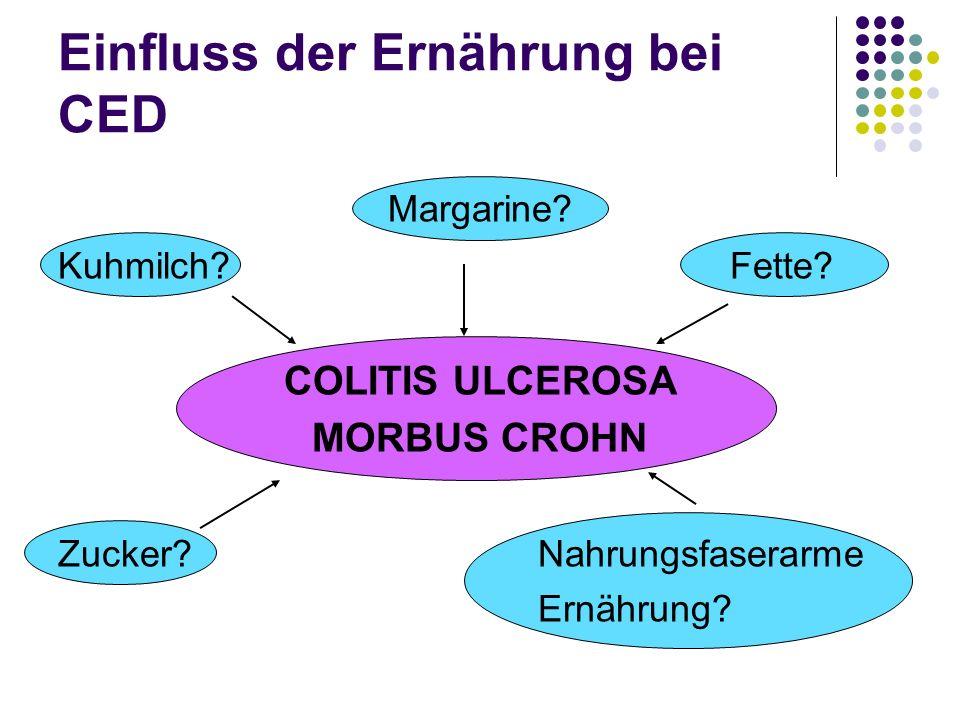 Einfluss der Ernährung bei CED Margarine? Kuhmilch?Fette? COLITIS ULCEROSA MORBUS CROHN Zucker?Nahrungsfaserarme Ernährung?