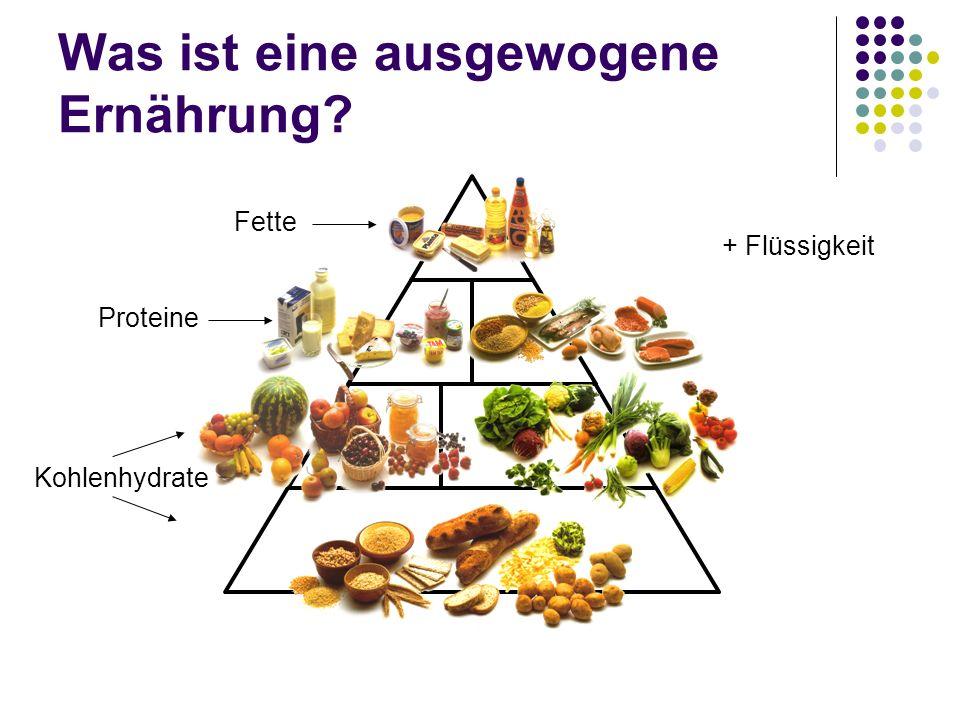 Was ist eine ausgewogene Ernährung? Kohlenhydrate Proteine Fette + Flüssigkeit