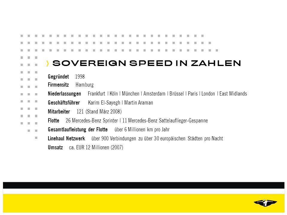 SOVEREIGN SPEED IN ZAHLEN Gegründet 1998 Firmensitz Hamburg Niederlassungen Frankfurt | Köln | München | Amsterdam | Brüssel | Paris | London | East M