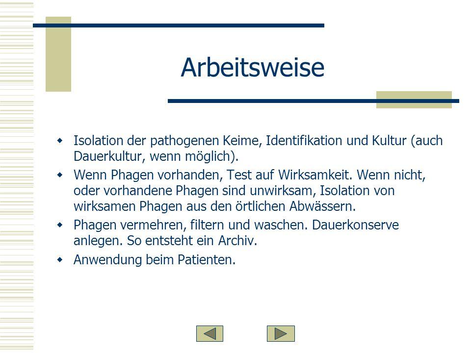 Arbeitsweise Isolation der pathogenen Keime, Identifikation und Kultur (auch Dauerkultur, wenn möglich).