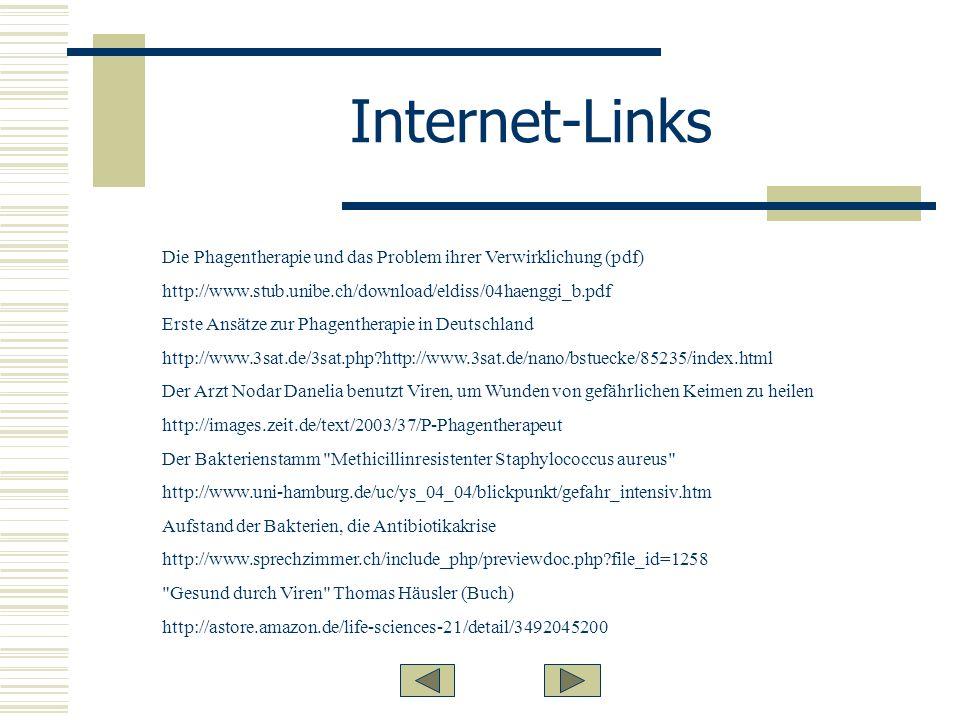 Internet-Links Die Phagentherapie und das Problem ihrer Verwirklichung (pdf) http://www.stub.unibe.ch/download/eldiss/04haenggi_b.pdf Erste Ansätze zur Phagentherapie in Deutschland http://www.3sat.de/3sat.php?http://www.3sat.de/nano/bstuecke/85235/index.html Der Arzt Nodar Danelia benutzt Viren, um Wunden von gefährlichen Keimen zu heilen http://images.zeit.de/text/2003/37/P-Phagentherapeut Der Bakterienstamm Methicillinresistenter Staphylococcus aureus http://www.uni-hamburg.de/uc/ys_04_04/blickpunkt/gefahr_intensiv.htm Aufstand der Bakterien, die Antibiotikakrise http://www.sprechzimmer.ch/include_php/previewdoc.php?file_id=1258 Gesund durch Viren Thomas Häusler (Buch) http://astore.amazon.de/life-sciences-21/detail/3492045200