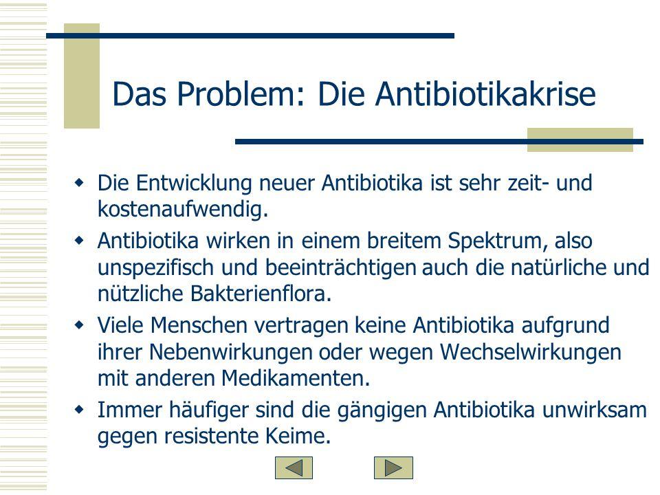Das Problem: Die Antibiotikakrise Die Entwicklung neuer Antibiotika ist sehr zeit- und kostenaufwendig.