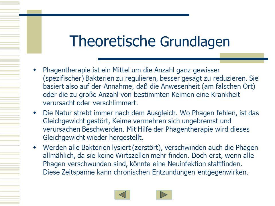 Theoretische Grundlagen Phagentherapie ist ein Mittel um die Anzahl ganz gewisser (spezifischer) Bakterien zu regulieren, besser gesagt zu reduzieren.