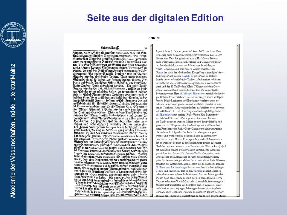 Akademie der Wissenschaften und der Literatur Mainz Seite aus der digitalen Edition