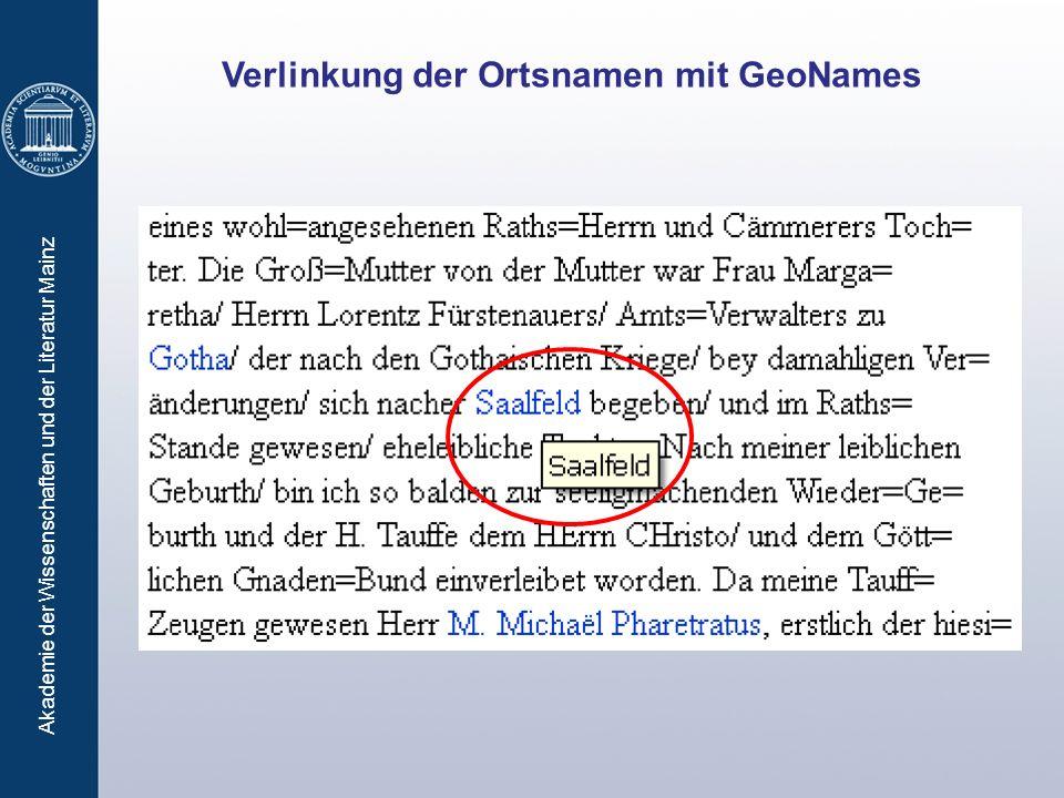 Akademie der Wissenschaften und der Literatur Mainz Verlinkung der Ortsnamen mit GeoNames