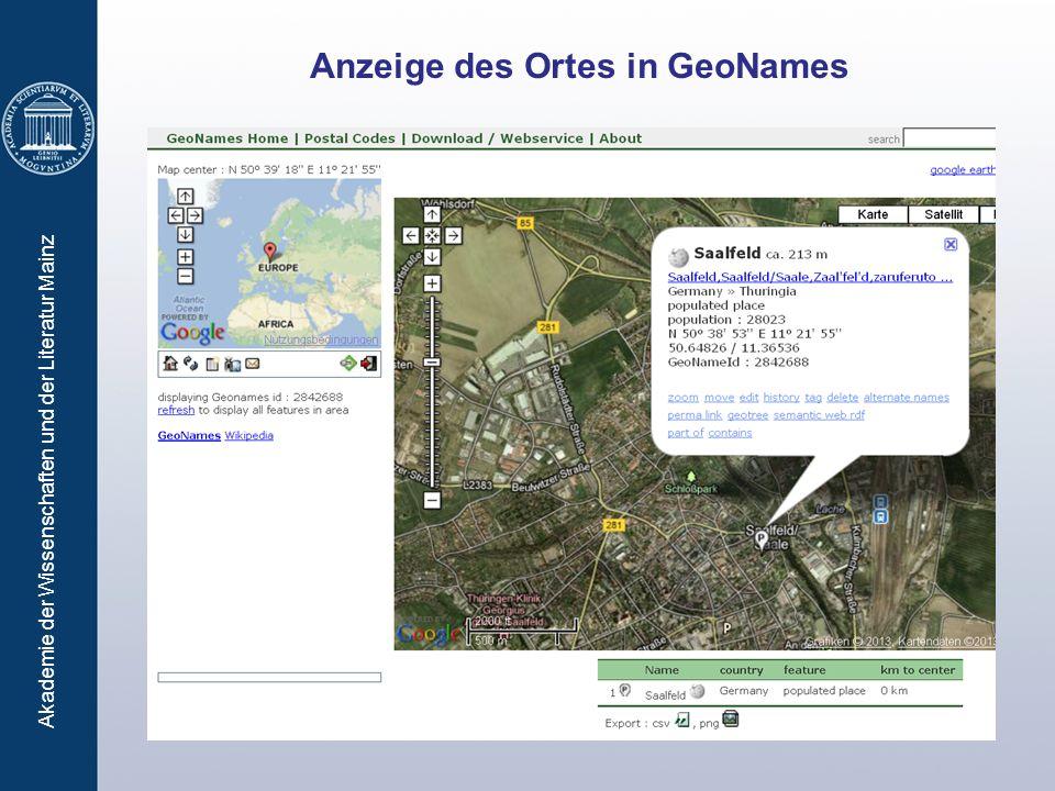 Akademie der Wissenschaften und der Literatur Mainz Anzeige des Ortes in GeoNames