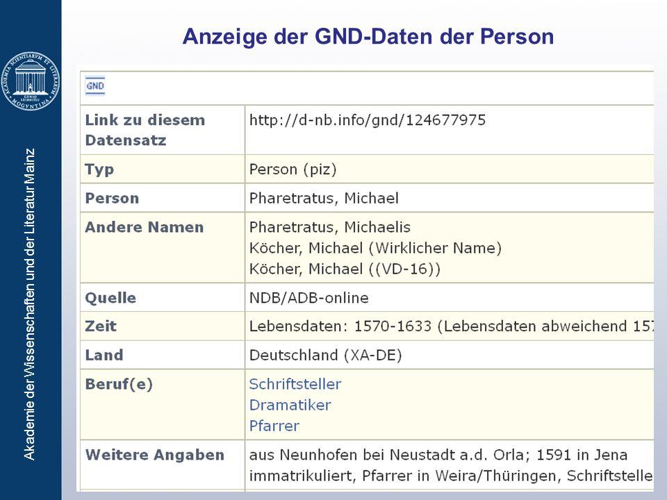 Akademie der Wissenschaften und der Literatur Mainz Anzeige der GND-Daten der Person