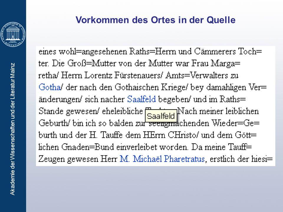 Akademie der Wissenschaften und der Literatur Mainz Vorkommen des Ortes in der Quelle