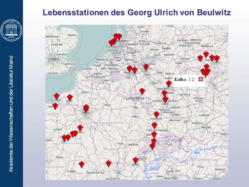 Akademie der Wissenschaften und der Literatur Mainz Lebensstationen des Georg Ulrich von Beulwitz