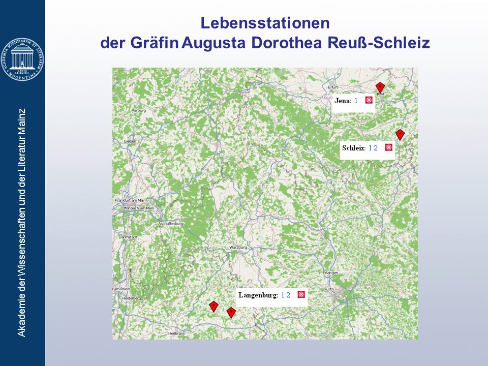 Akademie der Wissenschaften und der Literatur Mainz Lebensstationen der Gräfin Augusta Dorothea Reuß-Schleiz