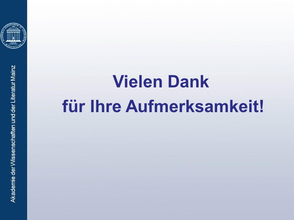 Akademie der Wissenschaften und der Literatur Mainz Vielen Dank für Ihre Aufmerksamkeit!