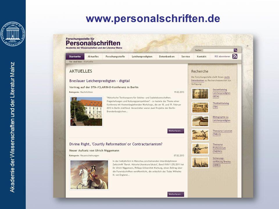 Akademie der Wissenschaften und der Literatur Mainz www.personalschriften.de