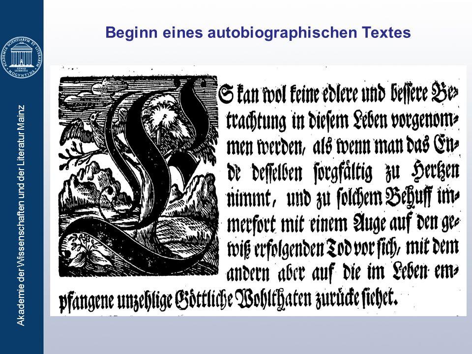 Akademie der Wissenschaften und der Literatur Mainz Beginn eines autobiographischen Textes