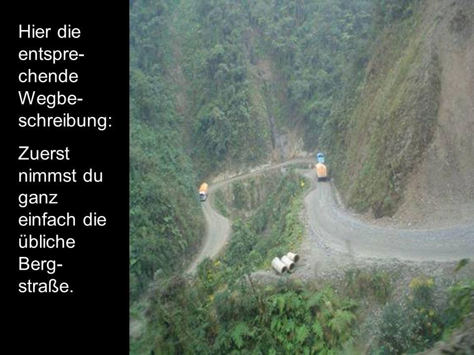 Hier die entspre- chende Wegbe- schreibung: Zuerst nimmst du ganz einfach die übliche Berg- straße.