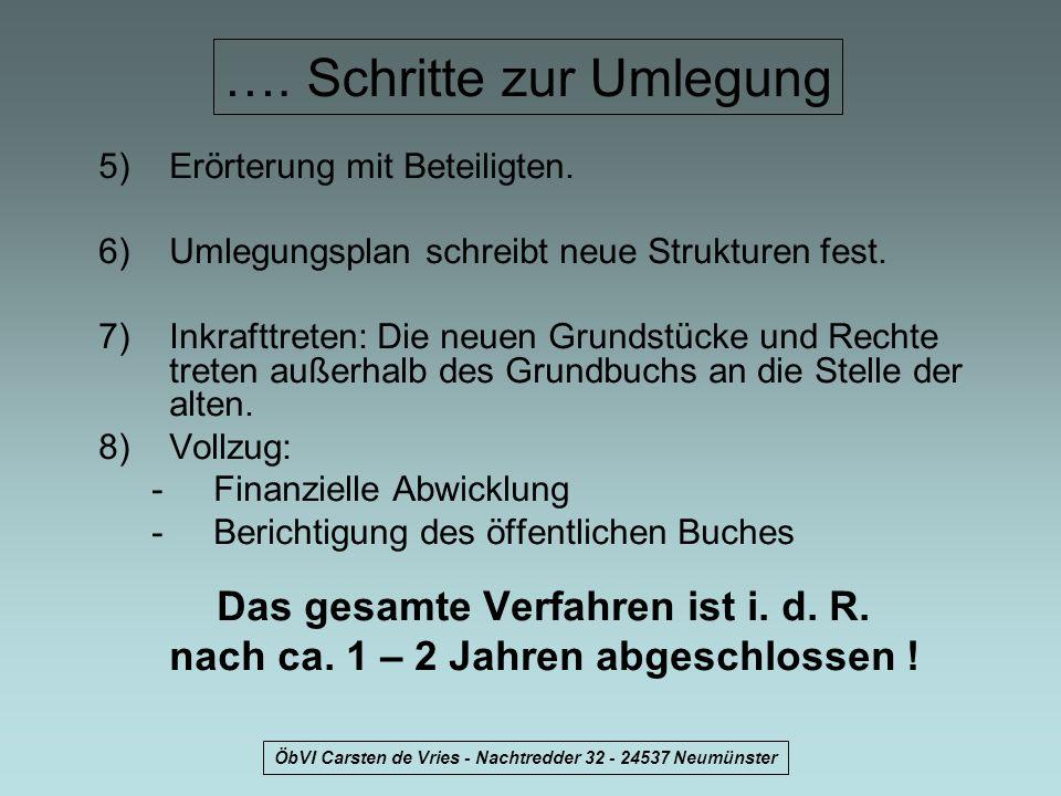 ÖbVI Carsten de Vries - Nachtredder 32 - 24537 Neumünster …. Schritte zur Umlegung 5)Erörterung mit Beteiligten. 6)Umlegungsplan schreibt neue Struktu