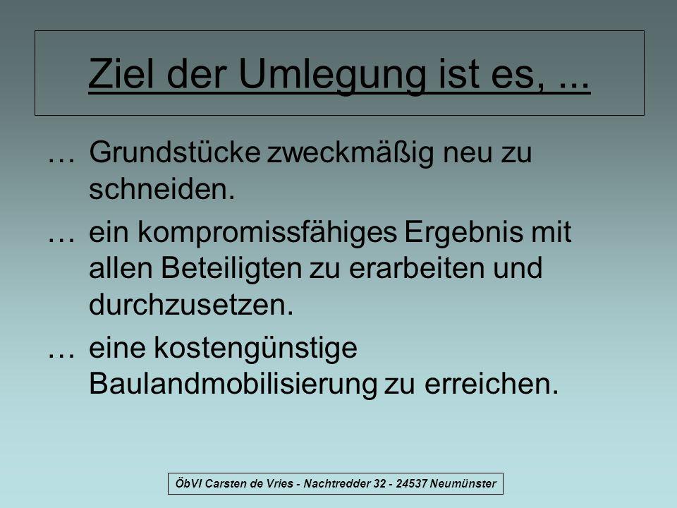 ÖbVI Carsten de Vries - Nachtredder 32 - 24537 Neumünster Ziel der Umlegung ist es,... …Grundstücke zweckmäßig neu zu schneiden. …ein kompromissfähige