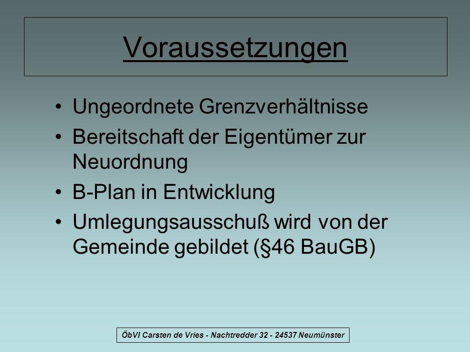 ÖbVI Carsten de Vries - Nachtredder 32 - 24537 Neumünster Voraussetzungen Ungeordnete Grenzverhältnisse Bereitschaft der Eigentümer zur Neuordnung B-P