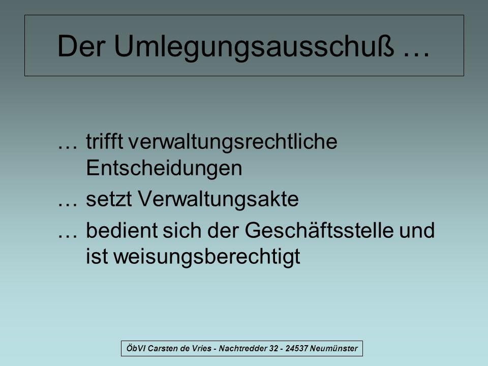 ÖbVI Carsten de Vries - Nachtredder 32 - 24537 Neumünster Schritte zur Umlegung 1)Gemeindevertretung bildet Umlegungsausschuß als beschließenden Ausschuß nach § 39 (1) GO.