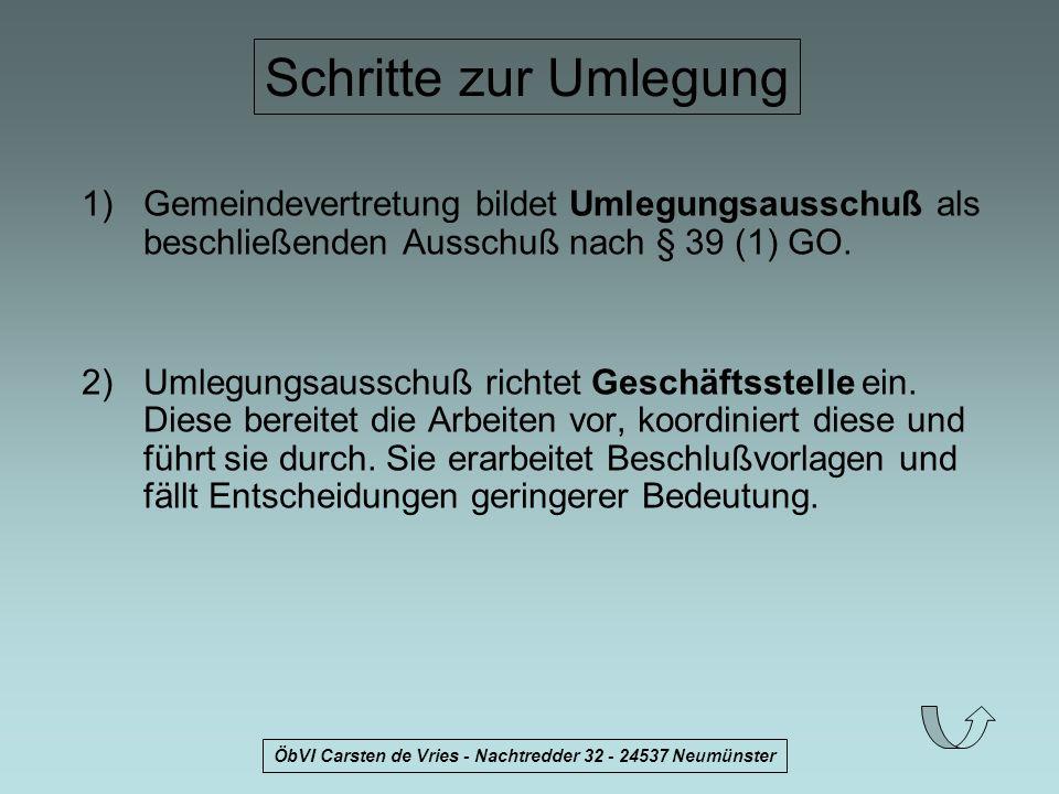 ÖbVI Carsten de Vries - Nachtredder 32 - 24537 Neumünster Schritte zur Umlegung 1)Gemeindevertretung bildet Umlegungsausschuß als beschließenden Aussc
