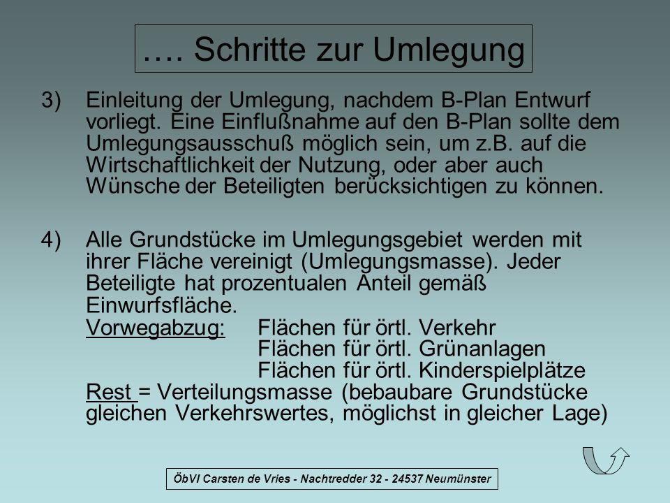 ÖbVI Carsten de Vries - Nachtredder 32 - 24537 Neumünster …. Schritte zur Umlegung 3)Einleitung der Umlegung, nachdem B-Plan Entwurf vorliegt. Eine Ei