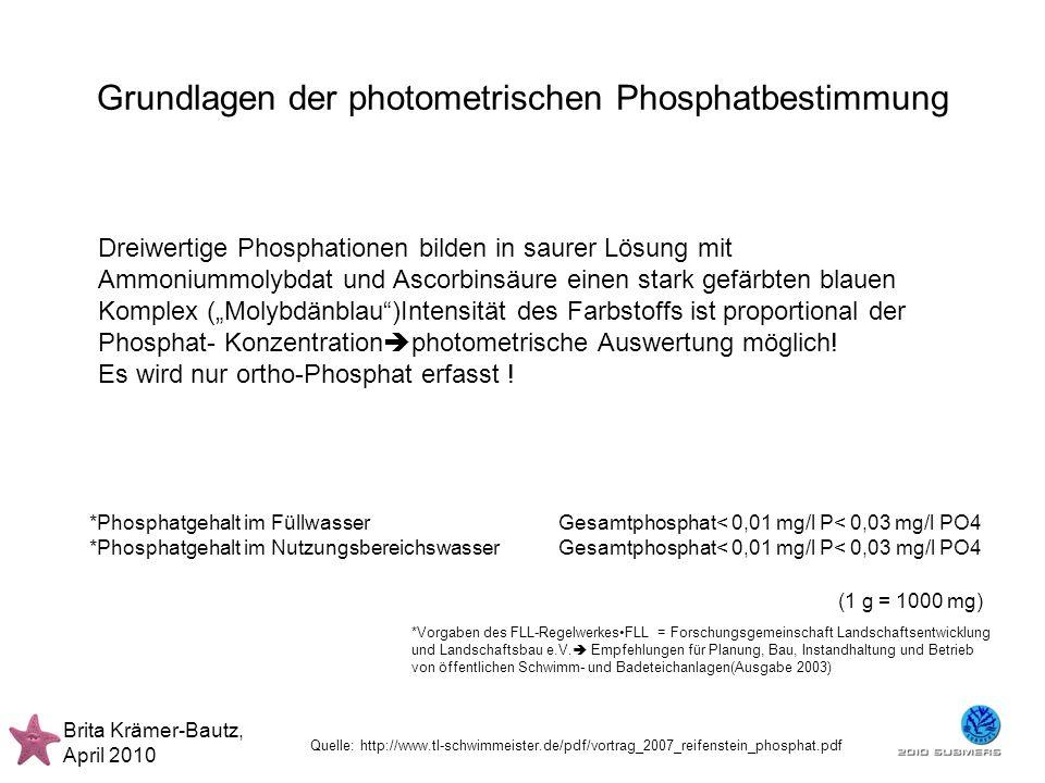Grundlagen der photometrischen Phosphatbestimmung Brita Krämer-Bautz, April 2010 Dreiwertige Phosphationen bilden in saurer Lösung mit Ammoniummolybda