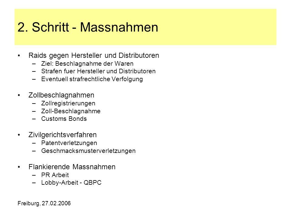 Freiburg, 27.02.2006 2. Schritt - Massnahmen Raids gegen Hersteller und Distributoren –Ziel: Beschlagnahme der Waren –Strafen fuer Hersteller und Dist