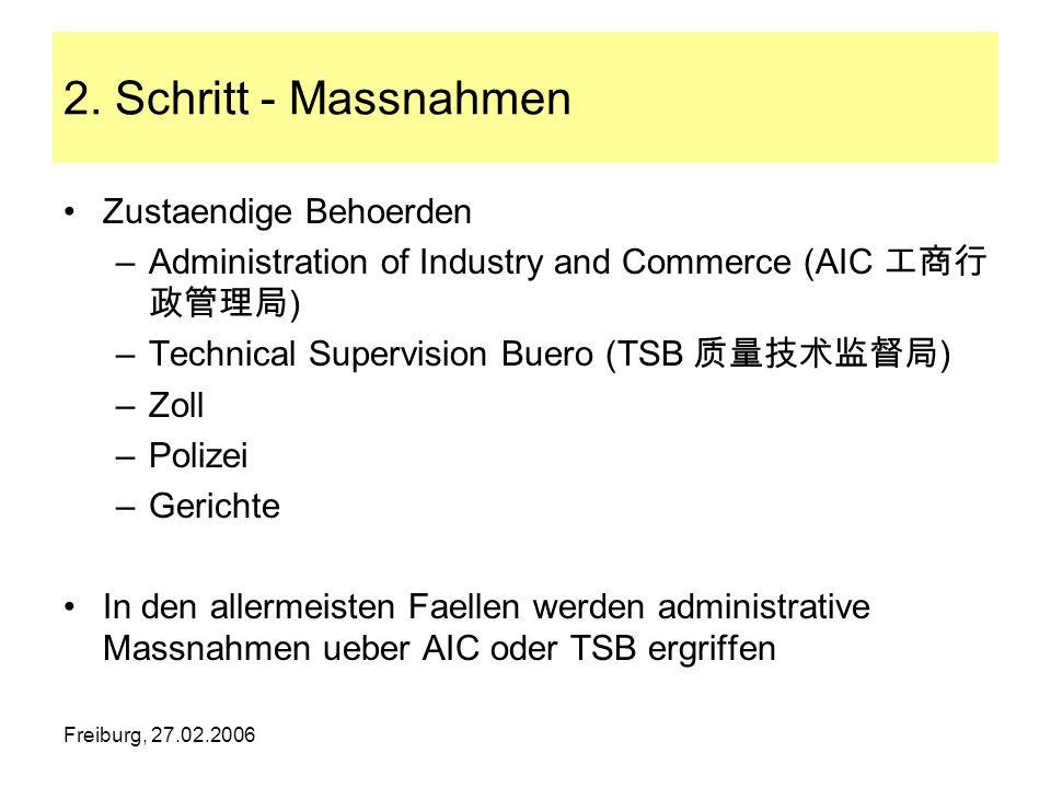 Freiburg, 27.02.2006 2. Schritt - Massnahmen Zustaendige Behoerden –Administration of Industry and Commerce (AIC ) –Technical Supervision Buero (TSB )