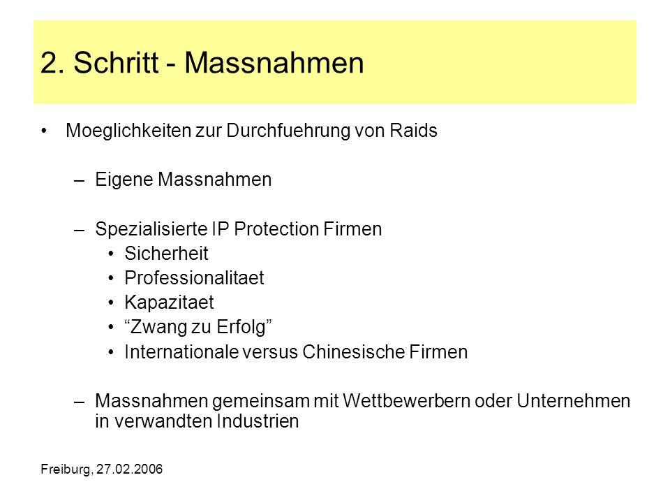 Freiburg, 27.02.2006 2. Schritt - Massnahmen Moeglichkeiten zur Durchfuehrung von Raids –Eigene Massnahmen –Spezialisierte IP Protection Firmen Sicher