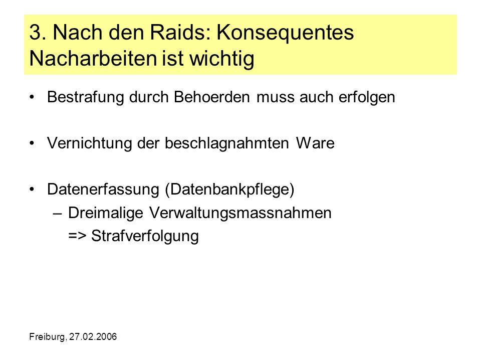 Freiburg, 27.02.2006 3. Nach den Raids: Konsequentes Nacharbeiten ist wichtig Bestrafung durch Behoerden muss auch erfolgen Vernichtung der beschlagna
