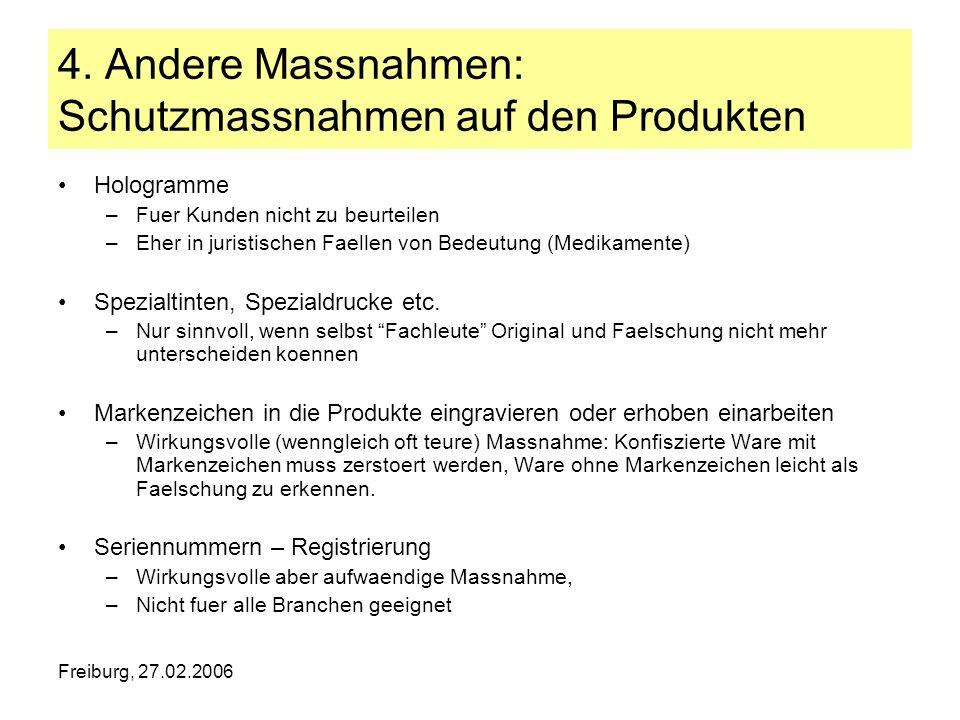 Freiburg, 27.02.2006 4. Andere Massnahmen: Schutzmassnahmen auf den Produkten Hologramme –Fuer Kunden nicht zu beurteilen –Eher in juristischen Faelle