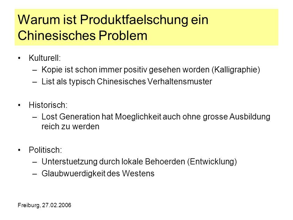 Freiburg, 27.02.2006 Warum ist Produktfaelschung ein Chinesisches Problem Kulturell: –Kopie ist schon immer positiv gesehen worden (Kalligraphie) –Lis