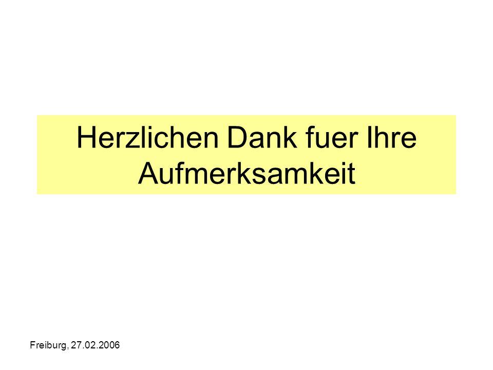 Freiburg, 27.02.2006 Herzlichen Dank fuer Ihre Aufmerksamkeit