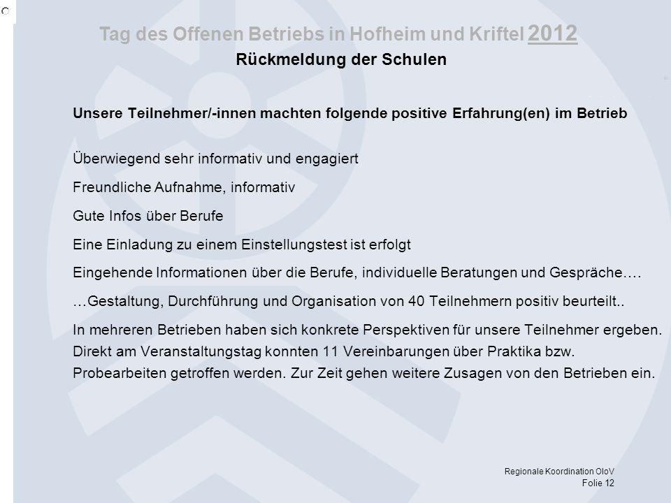 Tag des Offenen Betriebs in Hofheim und Kriftel 2012 Regionale Koordination OloV Folie 12 Unsere Teilnehmer/-innen machten folgende positive Erfahrung