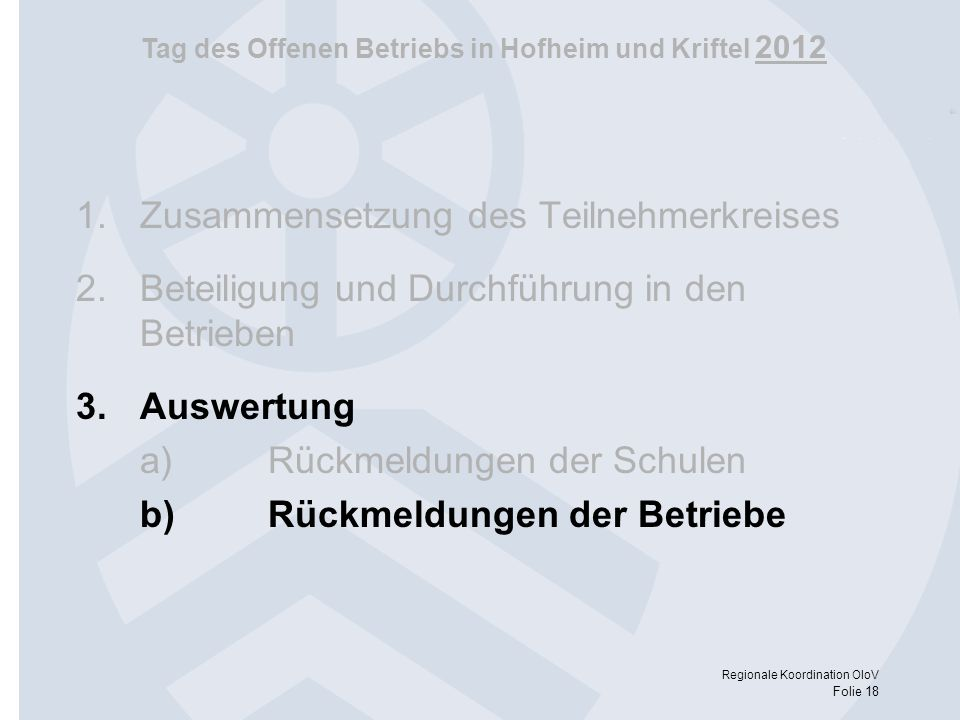 Tag des Offenen Betriebs in Hofheim und Kriftel 2012 Regionale Koordination OloV Folie 18 1.Zusammensetzung des Teilnehmerkreises 2.Beteiligung und Du