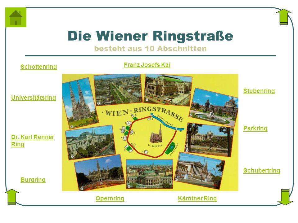 Die Wiener Ringstraße besteht aus 10 Abschnitten Stubenring Parkring Schubertring Kärntner RingOpernring Burgring Dr. Karl Renner Ring Universitätsrin