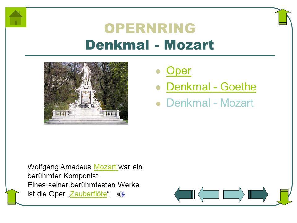 OPERNRING Denkmal - Mozart Oper Denkmal - Goethe Denkmal - Mozart Wolfgang Amadeus Mozart war ein berühmter Komponist. Eines seiner berühmtesten Werke