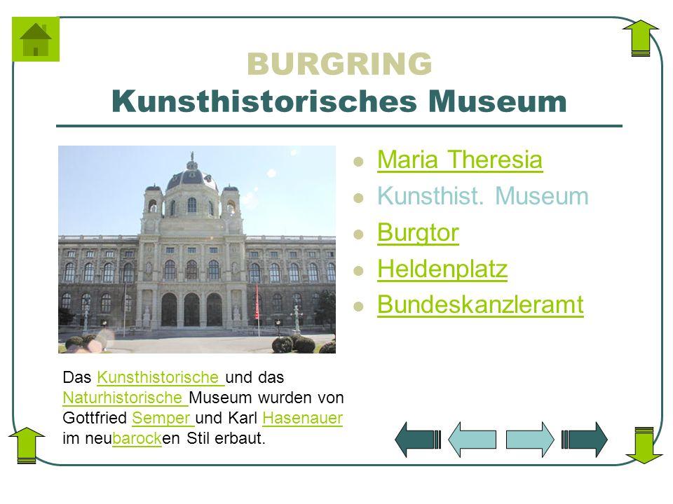 BURGRING Kunsthistorisches Museum Maria Theresia Kunsthist. Museum Burgtor Heldenplatz Bundeskanzleramt Das Kunsthistorische und das Naturhistorische