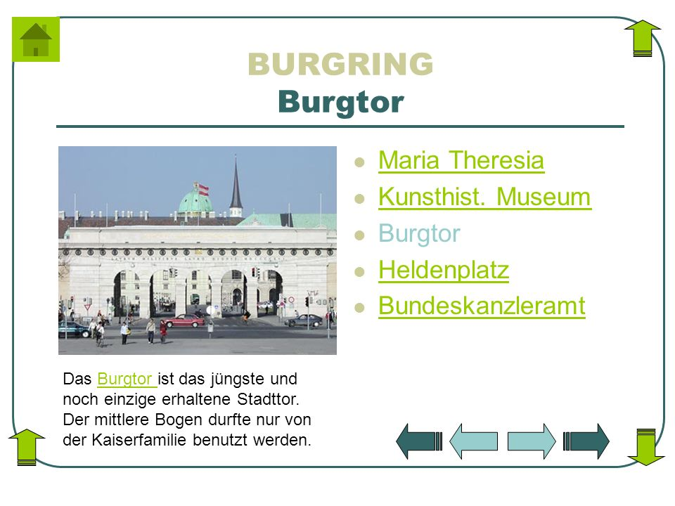 BURGRING Burgtor Maria Theresia Kunsthist. Museum Burgtor Heldenplatz Bundeskanzleramt Das Burgtor ist das jüngste und noch einzige erhaltene Stadttor