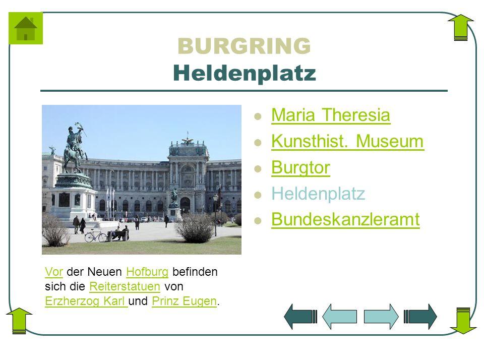 BURGRING Heldenplatz Maria Theresia Kunsthist. Museum Burgtor Heldenplatz Bundeskanzleramt VorVor der Neuen Hofburg befinden sich die Reiterstatuen vo