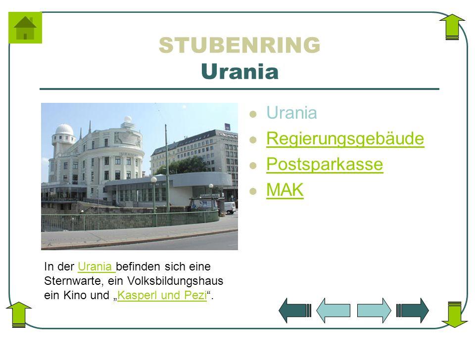 STUBENRING Urania Urania Regierungsgebäude Postsparkasse MAK In der Urania befinden sich eine Sternwarte, ein Volksbildungshaus ein Kino und Kasperl u
