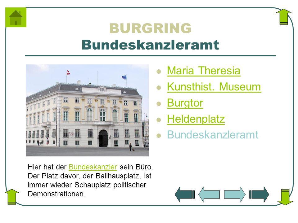 BURGRING Bundeskanzleramt Maria Theresia Kunsthist. Museum Burgtor Heldenplatz Bundeskanzleramt Hier hat der Bundeskanzler sein Büro. Der Platz davor,