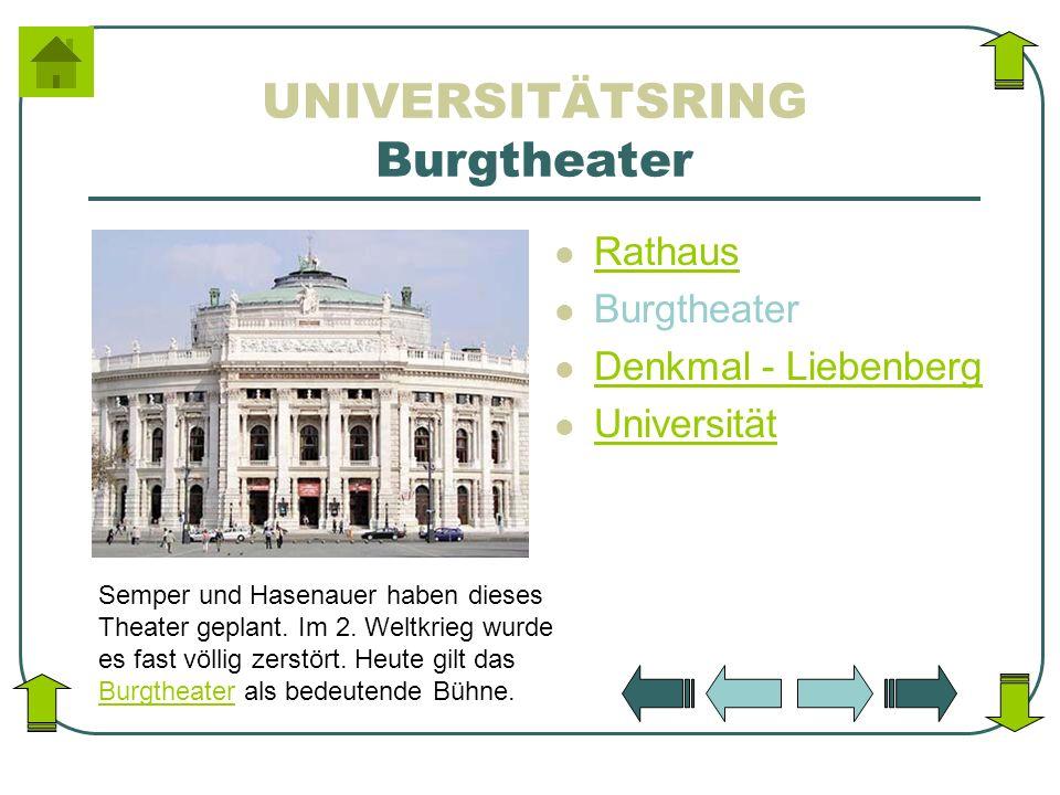 UNIVERSITÄTSRING Burgtheater Rathaus Burgtheater Denkmal - Liebenberg Universität Semper und Hasenauer haben dieses Theater geplant. Im 2. Weltkrieg w