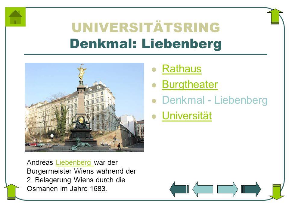 UNIVERSITÄTSRING Denkmal: Liebenberg Rathaus Burgtheater Denkmal - Liebenberg Universität Andreas Liebenberg war der Bürgermeister Wiens während der 2