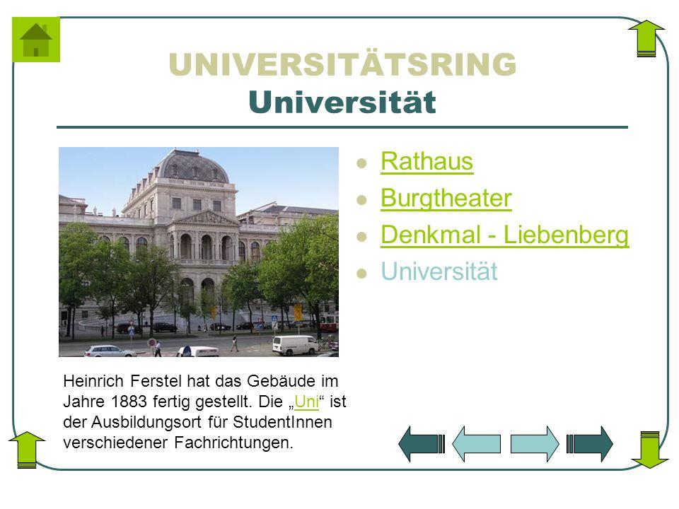 UNIVERSITÄTSRING Universität Rathaus Burgtheater Denkmal - Liebenberg Universität Heinrich Ferstel hat das Gebäude im Jahre 1883 fertig gestellt. Die
